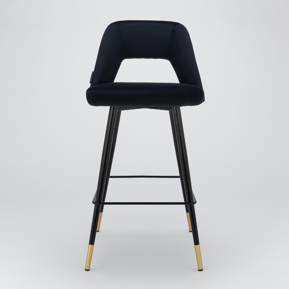 Барный стул Hudson черный велюр StoreForHome
