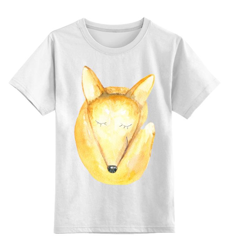 Детская футболка Printio Спящий лис цв.белый р.140 0000001427306 по цене 790