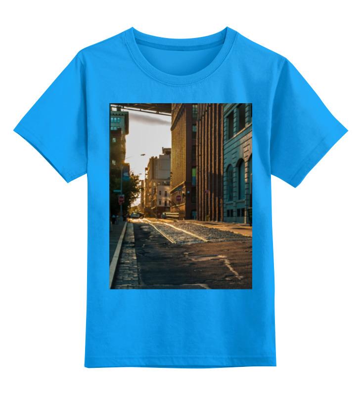Купить 0000000791091, Детская футболка Printio Evening brooklyn цв.голубой р.152,