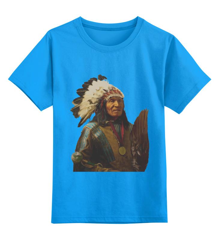 Купить 0000000791066, Детская футболка Printio Native american цв.голубой р.152,