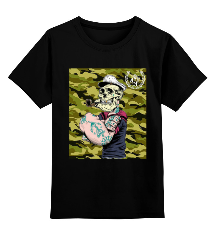 Купить 0000000788196, Детская футболка Printio Морячок цв.черный р.152,