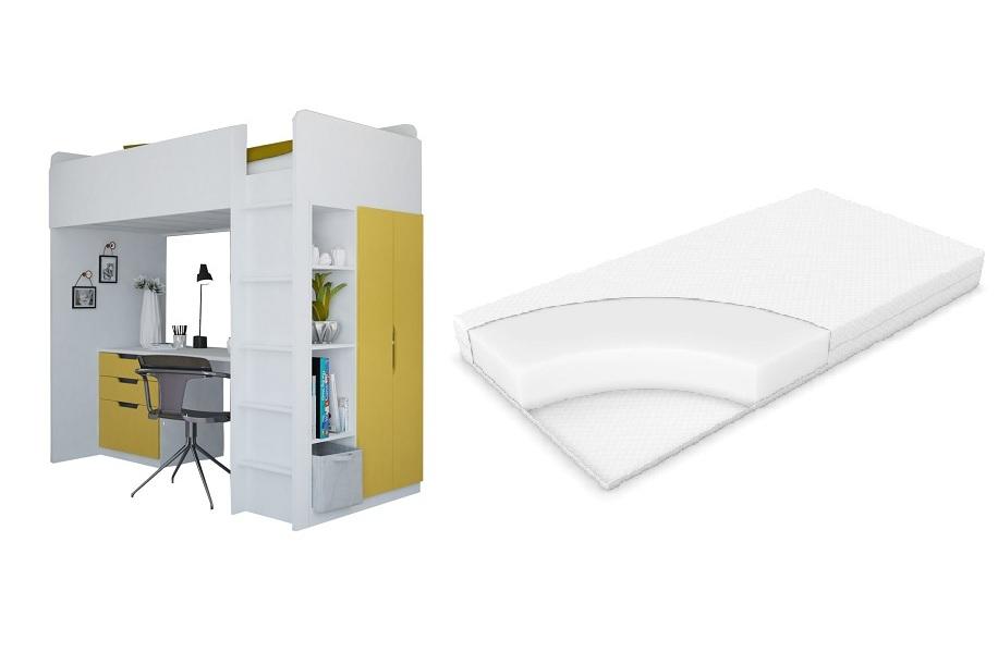 Набор Polini белый солнечный, кровать чердак Simple
