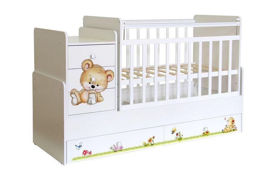 Кроватка трансформер детская Фея 1100 Медвежонок, белый