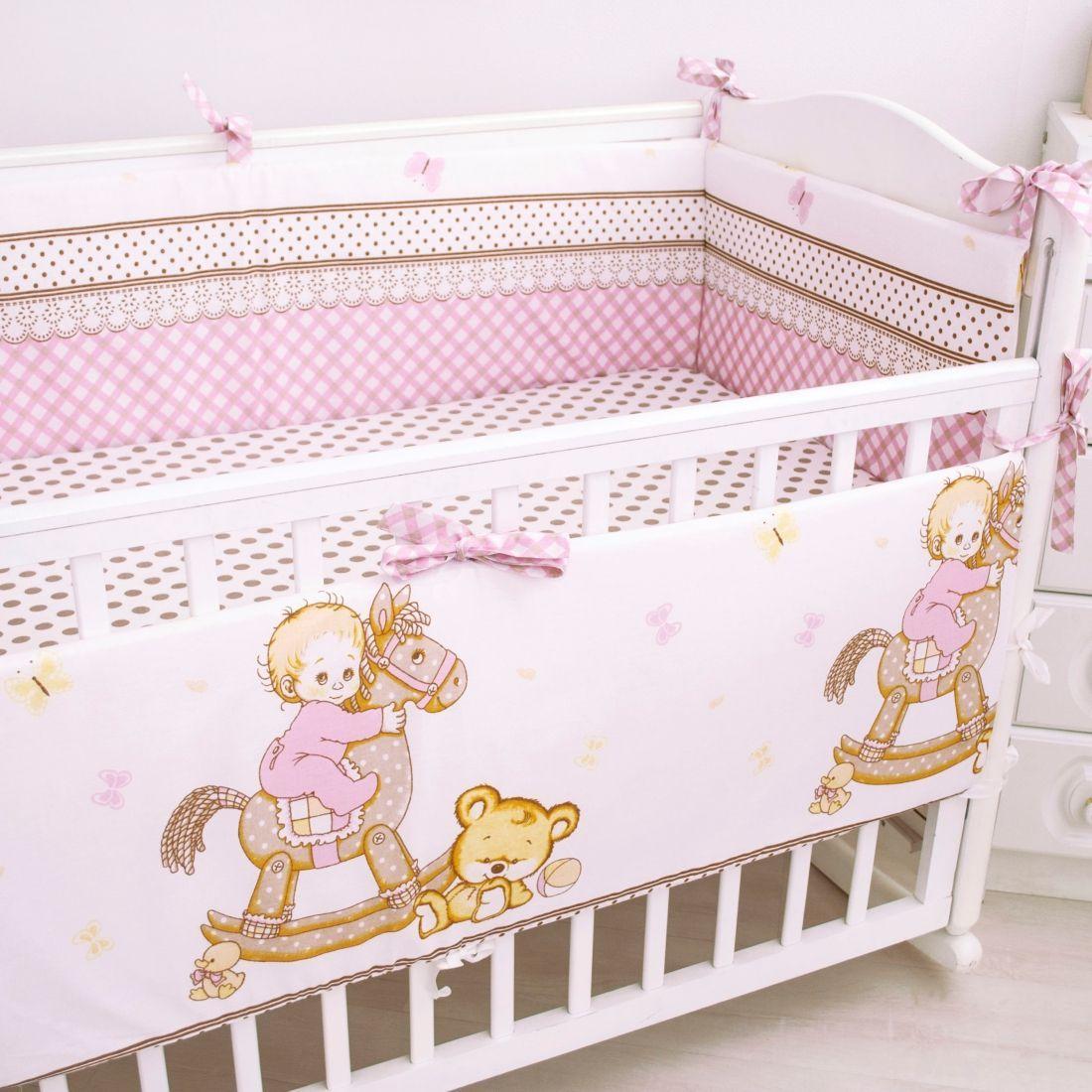 Борт в кроватку Крошкин дом Я люблю свою лошадку, розовый