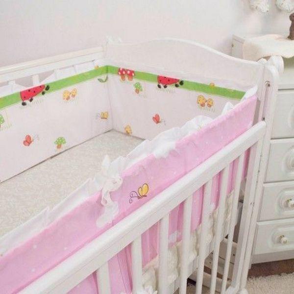 Бортик в кроватку Крошкин дом Лента, розовый