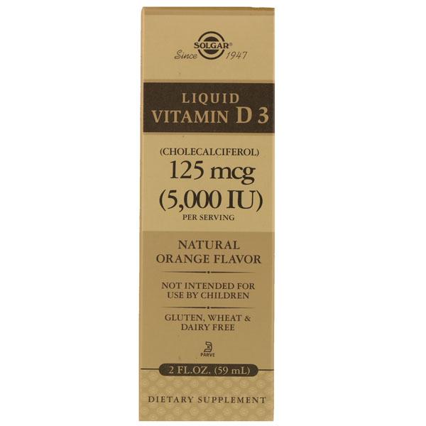 Купить Liquid Vitamin D3 Natural Orange Flavor Solgar 5000 IU 59 ml