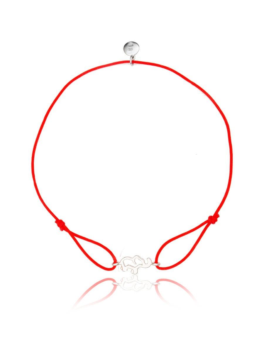 Браслет TOP CRYSTAL 4077559897003 на красной нити с серебром