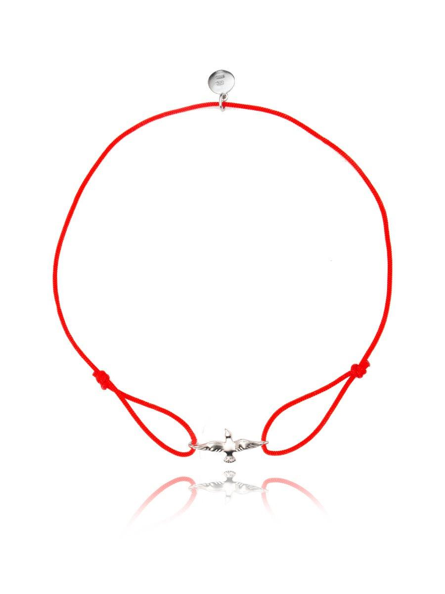 Браслет TOP CRYSTAL 4077558997003 на красной нити с серебром