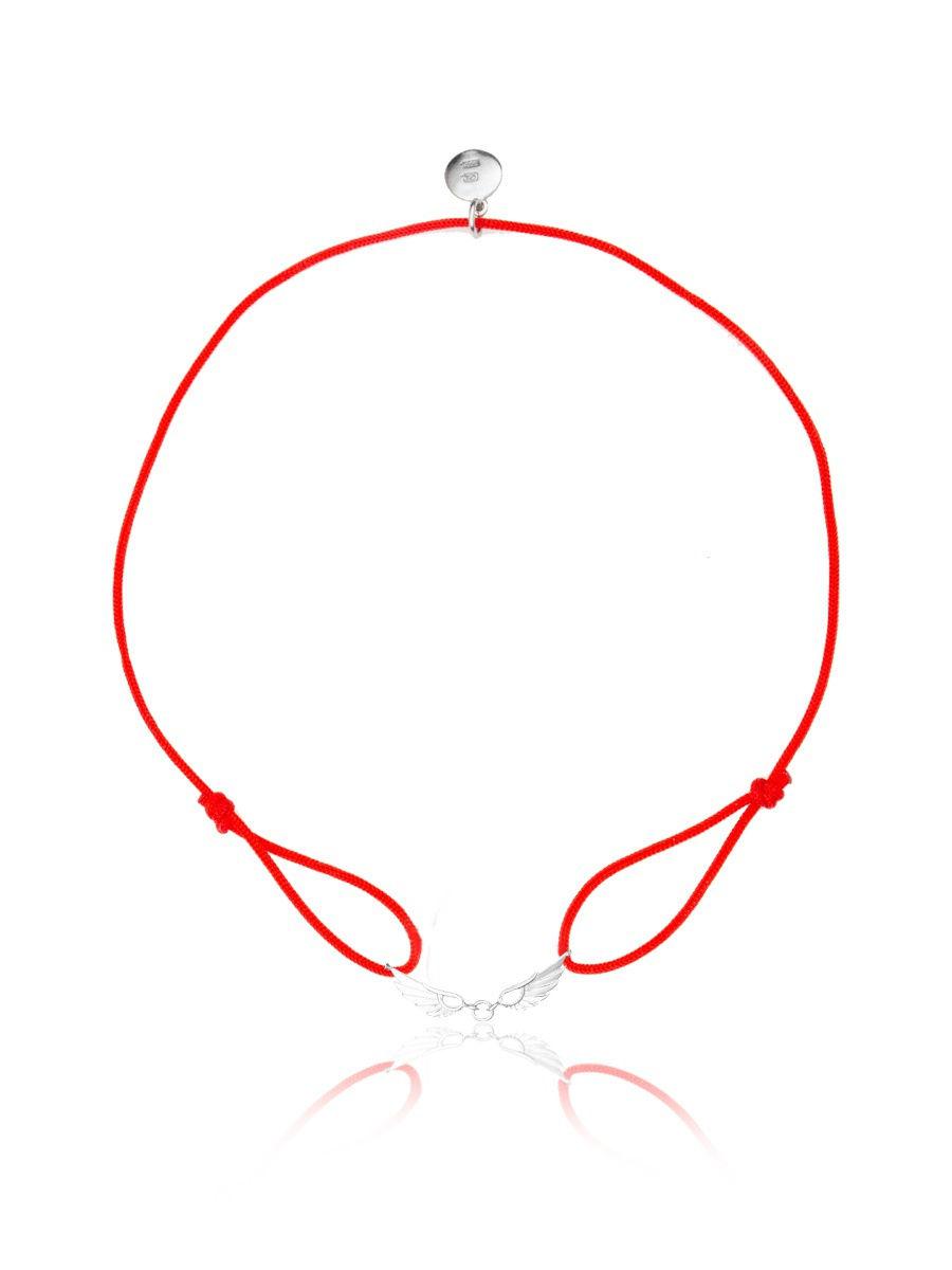 Браслет TOP CRYSTAL 4077558677003 на красной нити с серебром