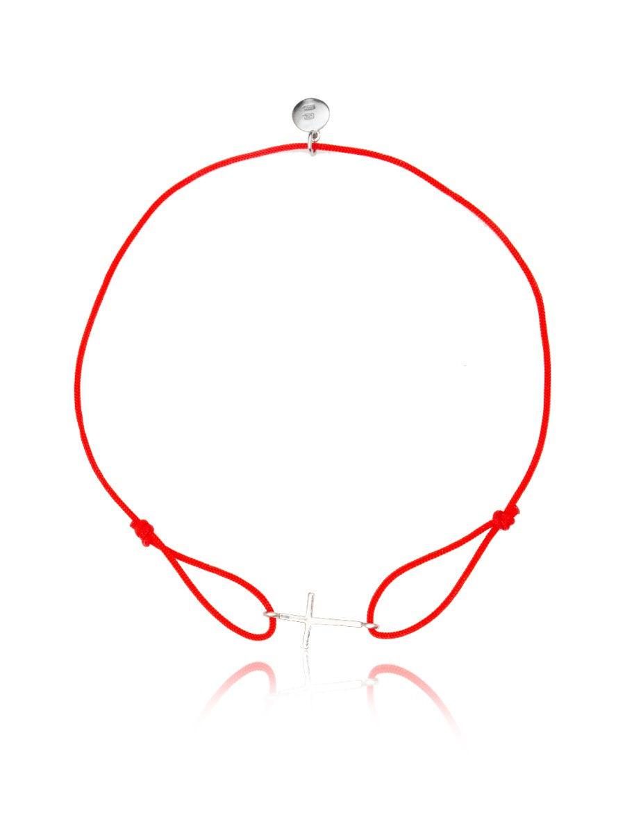 Браслет TOP CRYSTAL 4077558537003 на красной нити с серебром