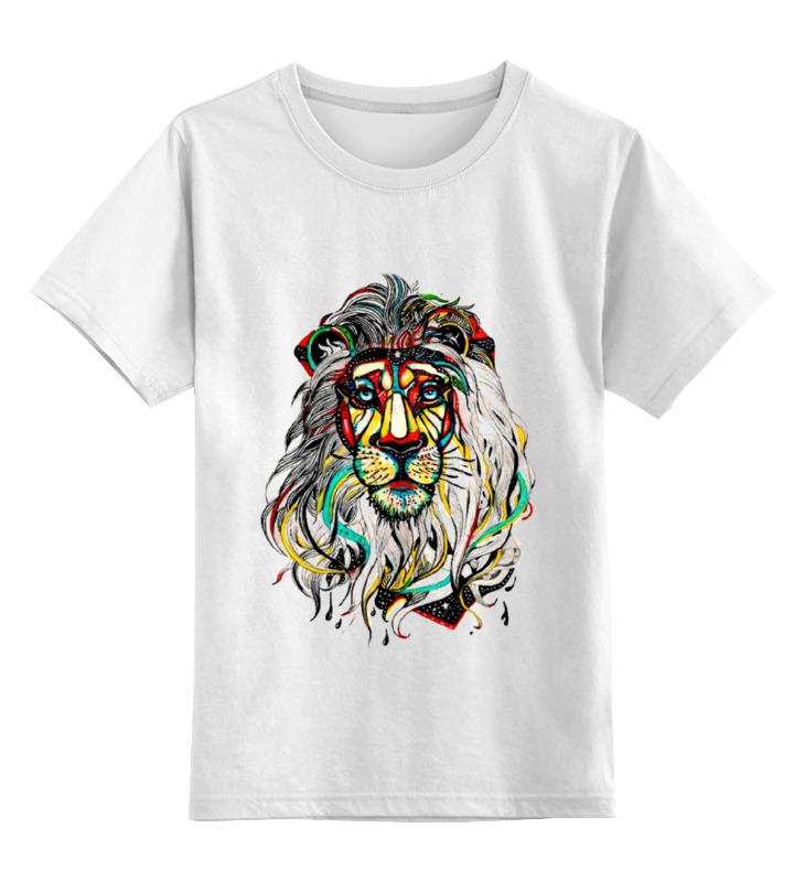 Купить 0000000794396, Детская футболка Printio Лев цв.белый р.128,