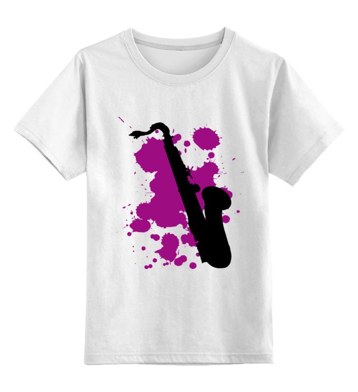 Купить 0000000794148, Детская футболка Printio Saxophone цв.белый р.128,