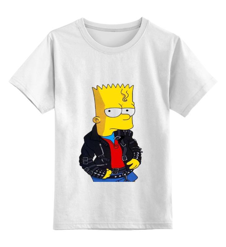 Купить 0000000793971, Детская футболка Printio Bart цв.белый р.128,