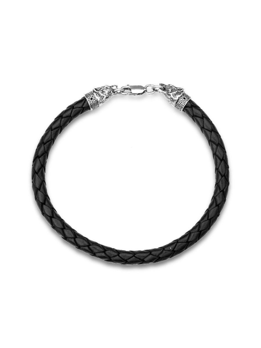 Браслет TOP CRYSTAL 40372621 из серебра кожаный, р. 23.5