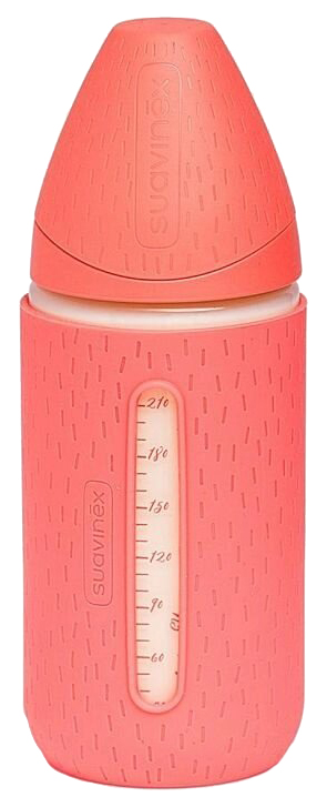 Купить Бутылка из стекла Suavinex meaningful life 0+ с силиконовым чехлом розовая 240 мл,