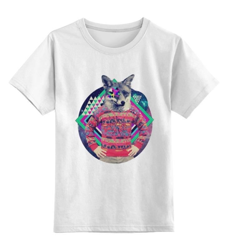 Купить 0000000788997, Детская футболка Printio Лис лис цв.белый р.128,