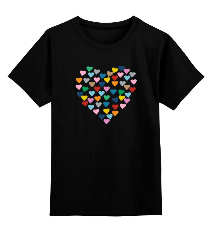 Купить 0000000786795, Детская футболка Printio Сердце цв.черный р.128,