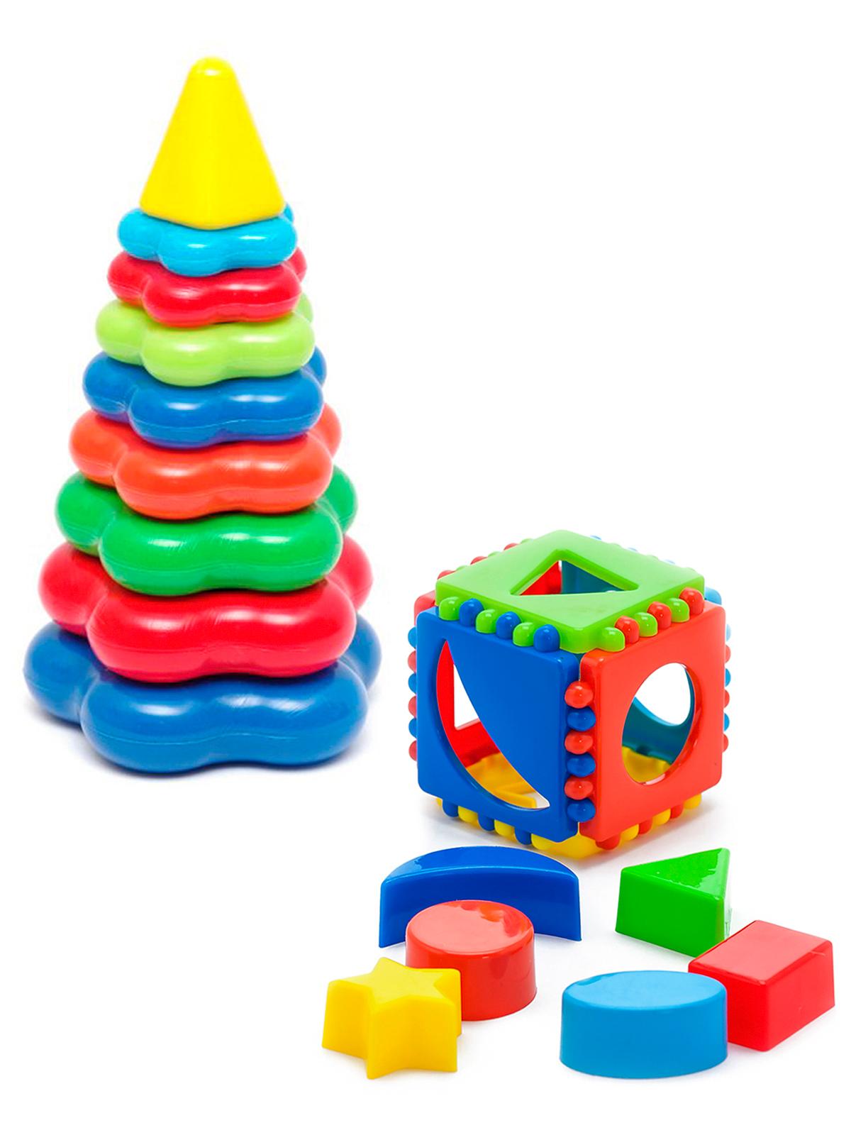 Развивающие игрушки Karolina Toys Игрушка Кубик логический малый+Пирамида детская большая,  - купить со скидкой