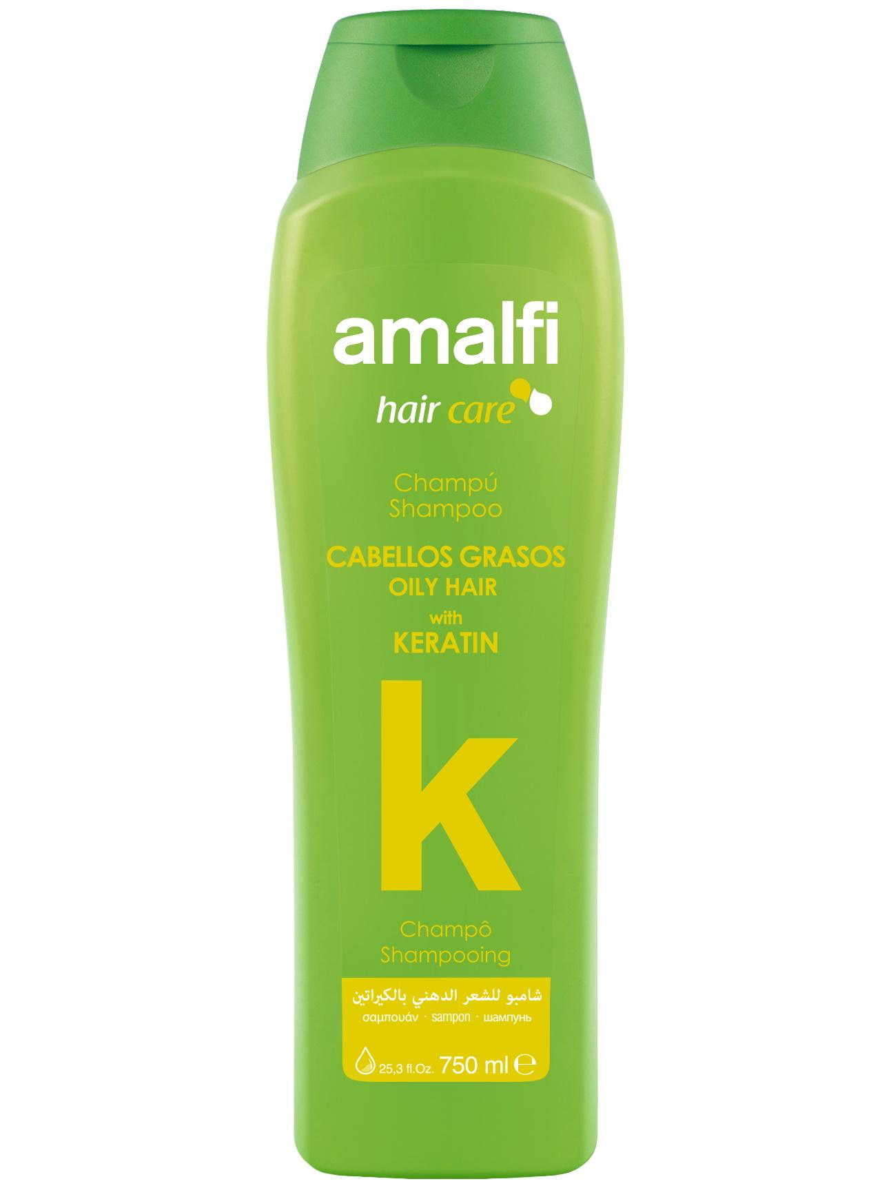 Купить Шампунь для ухода за волосами AMALFI с кератином oily hair 750 мл, Amalfy