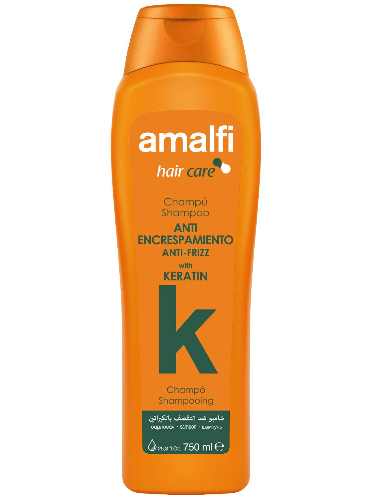 Купить Шампунь для ухода за волосами AMALFI с кератином anti-frizz 750 мл, Amalfy