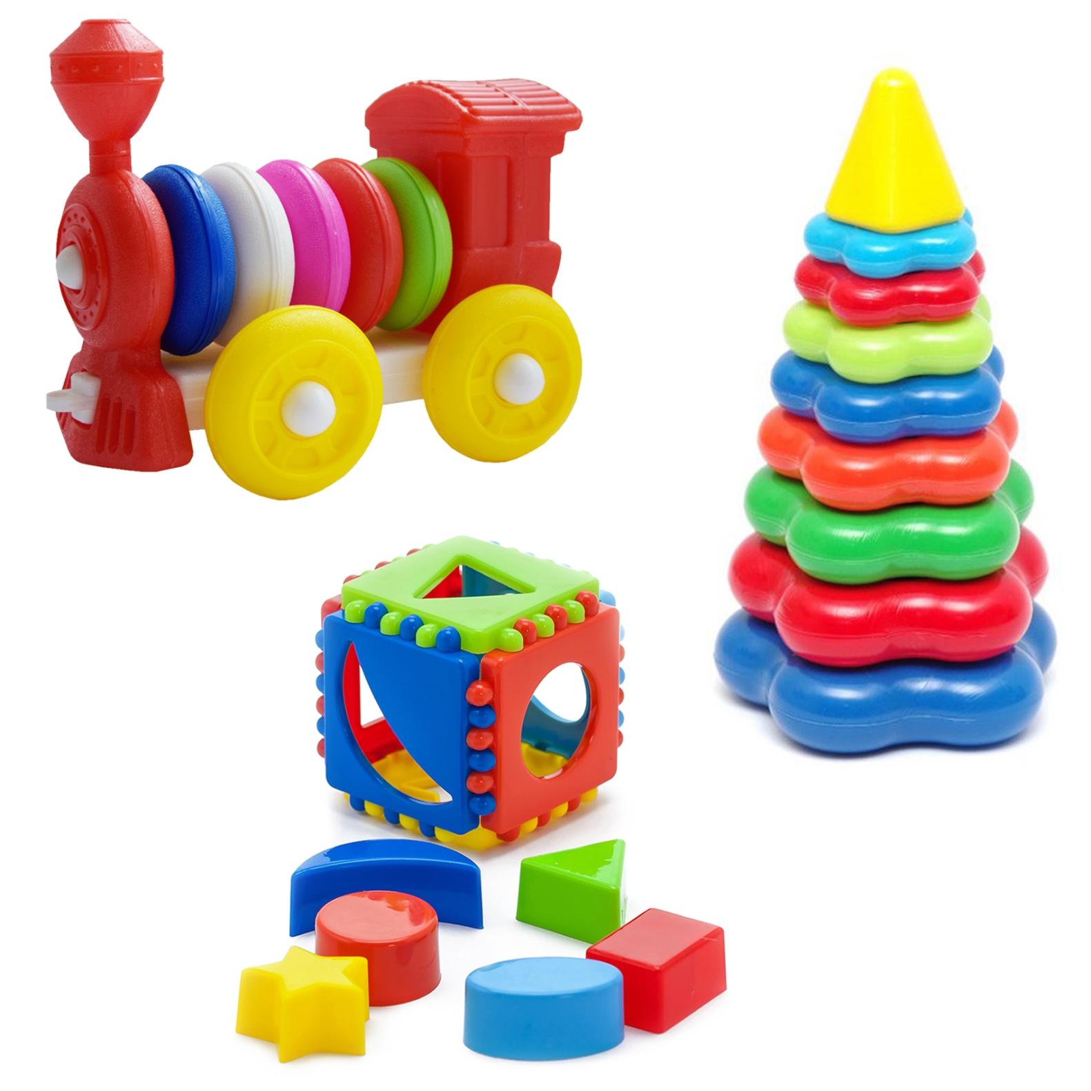 Купить Развивающие игрушки Karolina Toys Кубик лог.малый+Пирамида бол.+Констр.каталка Паровозик,