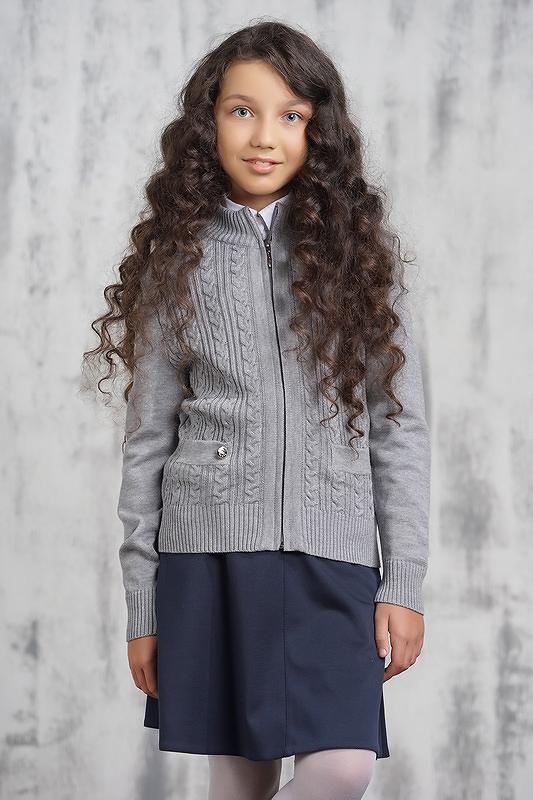 Жакет для девочек 203-7072 VAY цв.серый р.122
