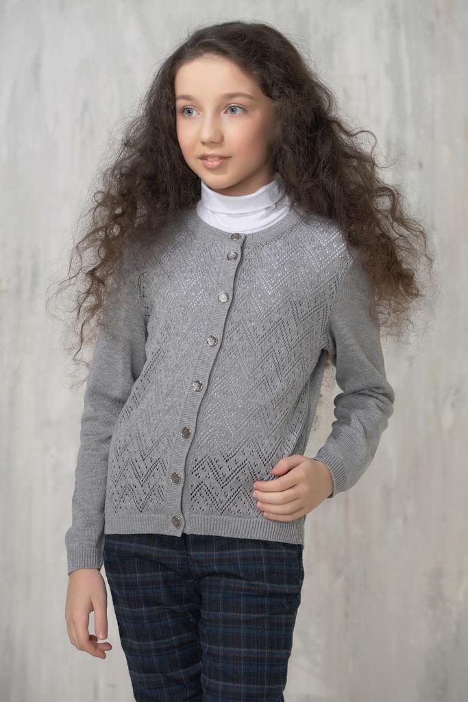Купить 203-7069_серый, Жакет для девочек 203-7069 VAY цв.серый р.140,
