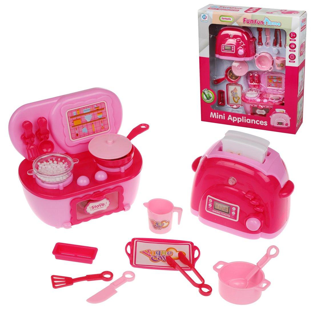 Кухонная техника Наша Игрушка плита, тостер, 16 предметов, свет, звук, коробка 200258801