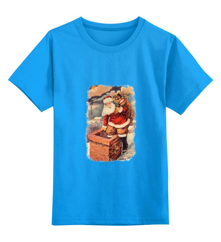 Купить 0000000794501, Детская футболка Printio Дед мороз в трубе цв.голубой р.164,