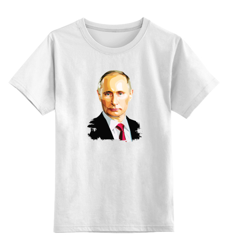Купить 0000000791053, Детская футболка Printio Владимир Путин цв.белый р.140,