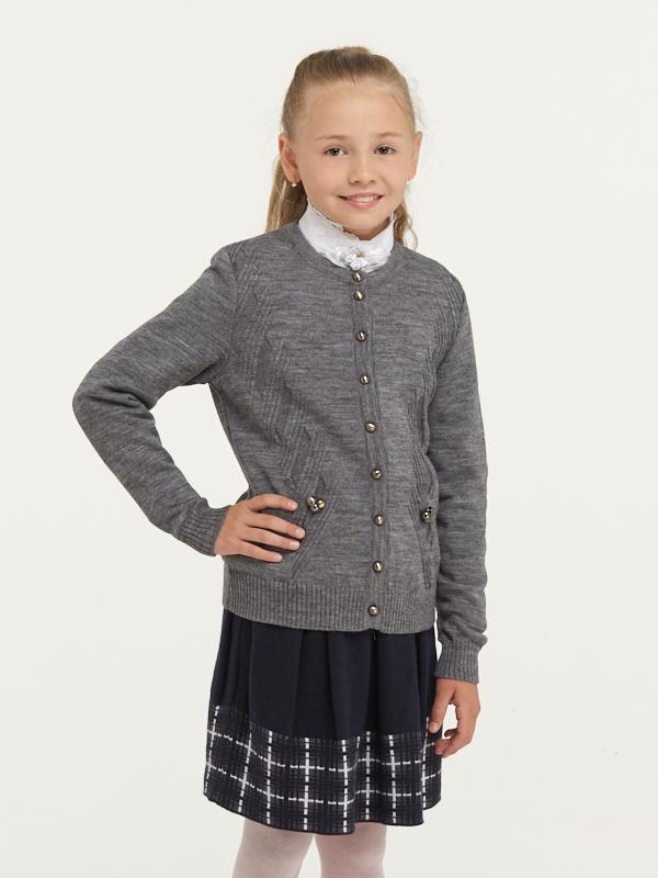 Купить 183-7107_серый, Жакет для девочек 183-7107 VAY цв.серый р.140,