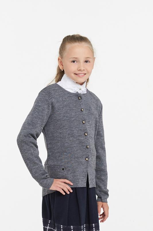 Купить 183-7105_серый, Жакет для девочек 183-7105 VAY цв.серый р.140,