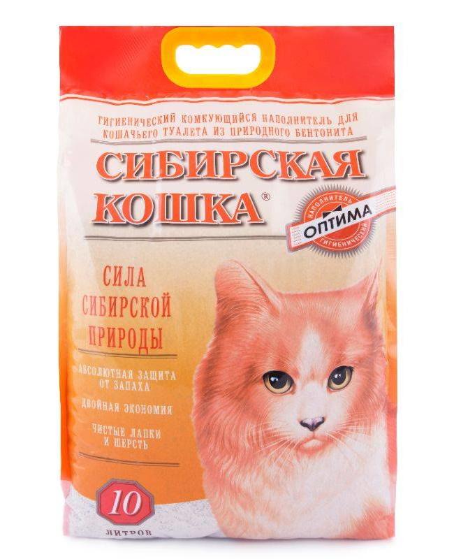 Впитывающий наполнитель для кошек Сибирская кошка бентонитовый,
