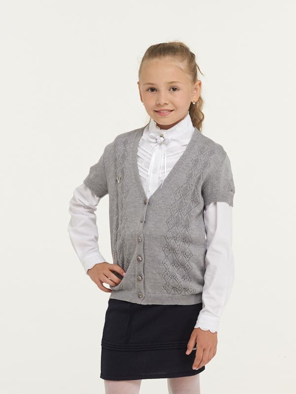 Купить 7063_серый, Жакет для девочек 7063 VAY цв.серый р.140,