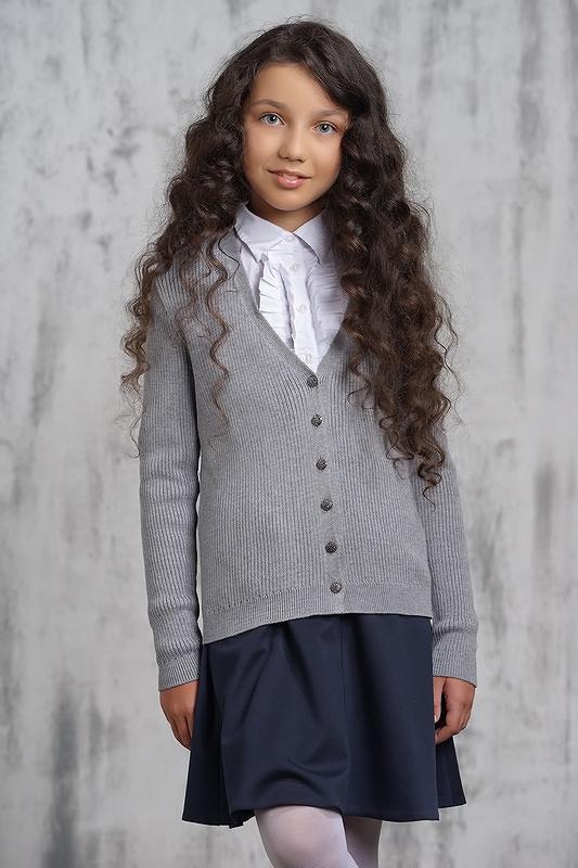 Купить 7070_серый, Жакет для девочек 7070 VAY цв.серый р.140,