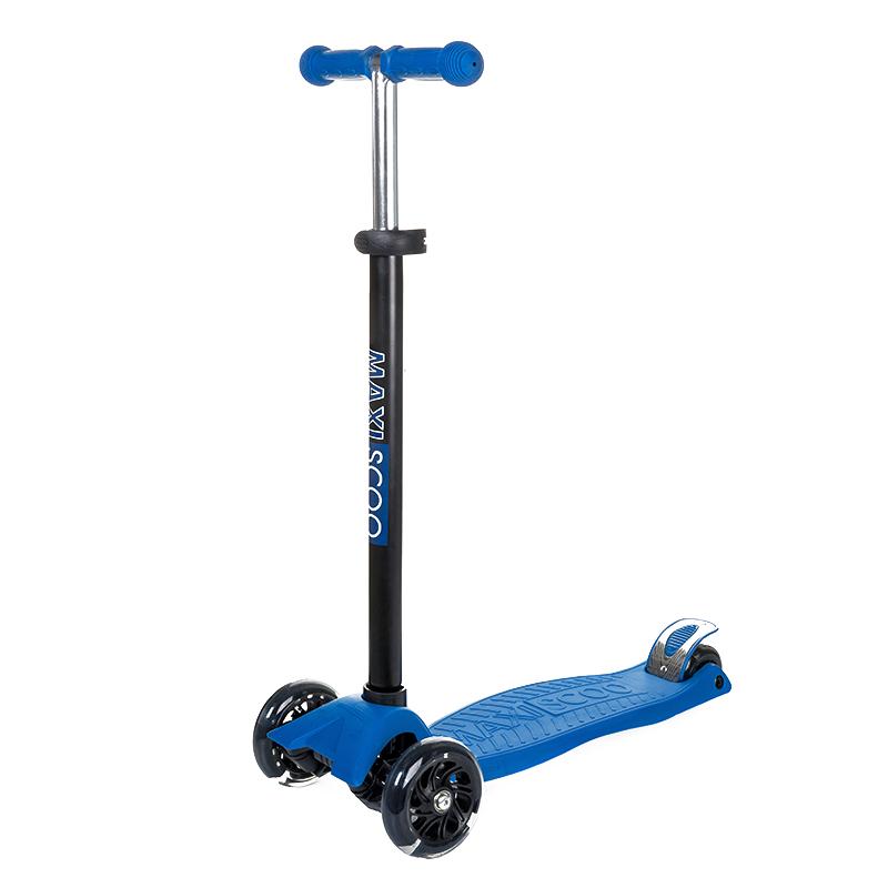 Купить Самокат трехколесный Junior , со светящимися колесами, темно-синий, Maxiscoo, Самокаты детские трехколесные