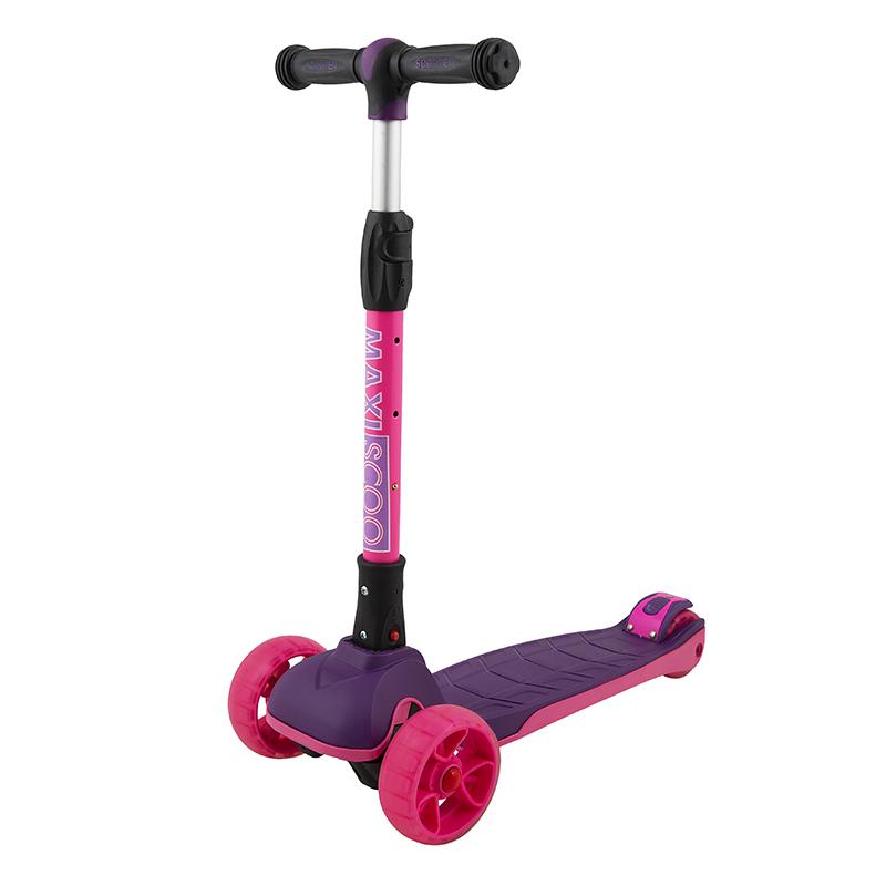 Купить Самокат трехколесный Junior Plus , со светящимися колесами, цвет: фуксия, Maxiscoo, Самокаты детские трехколесные