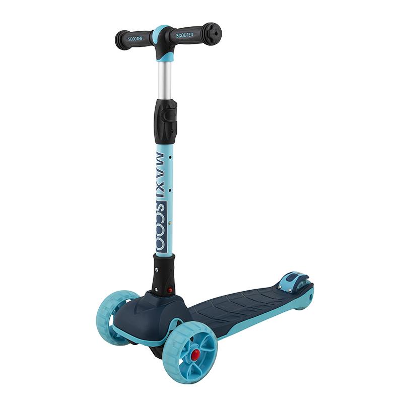 Купить Самокат трехколесный Junior Plus , со светящимися колесами, цвет: индиго, Maxiscoo, Самокаты детские трехколесные