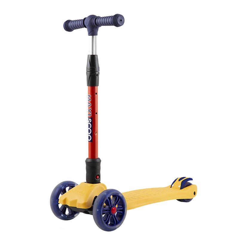 Купить Самокат трехколесный Junior Delux , со светящимися колесами, желтый, Maxiscoo, Самокаты детские трехколесные
