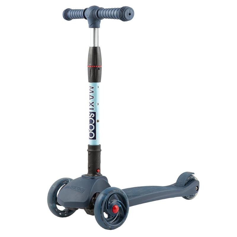 Купить Самокат трехколесный Baby Delux , со светящимися колесами, цвет: индиго, Maxiscoo, Самокаты детские трехколесные