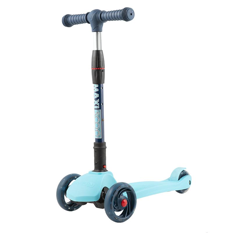 Купить Самокат трехколесный Baby Delux , со светящимися колесами, голубой, Maxiscoo, Самокаты детские трехколесные