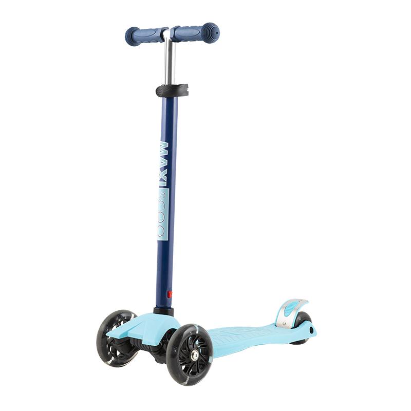 Купить Самокат Junior , со светящимися колесами, цвет: голубой, Maxiscoo, Самокаты детские трехколесные