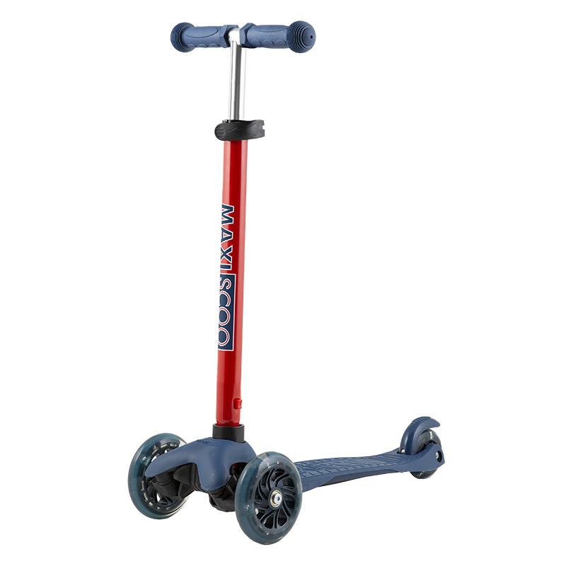 Купить Самокат Baby , со светящимися колесами, индиго, Maxiscoo, Самокаты детские трехколесные