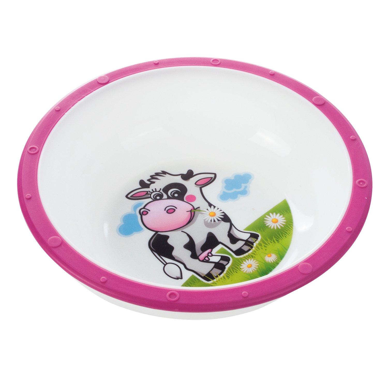 Миска пластиковая Canpol Babies Little cow розовая