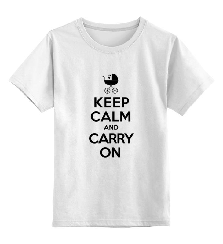 0000000771582, Детская футболка Printio Keep calm & carry on цв.белый р.164,  - купить со скидкой