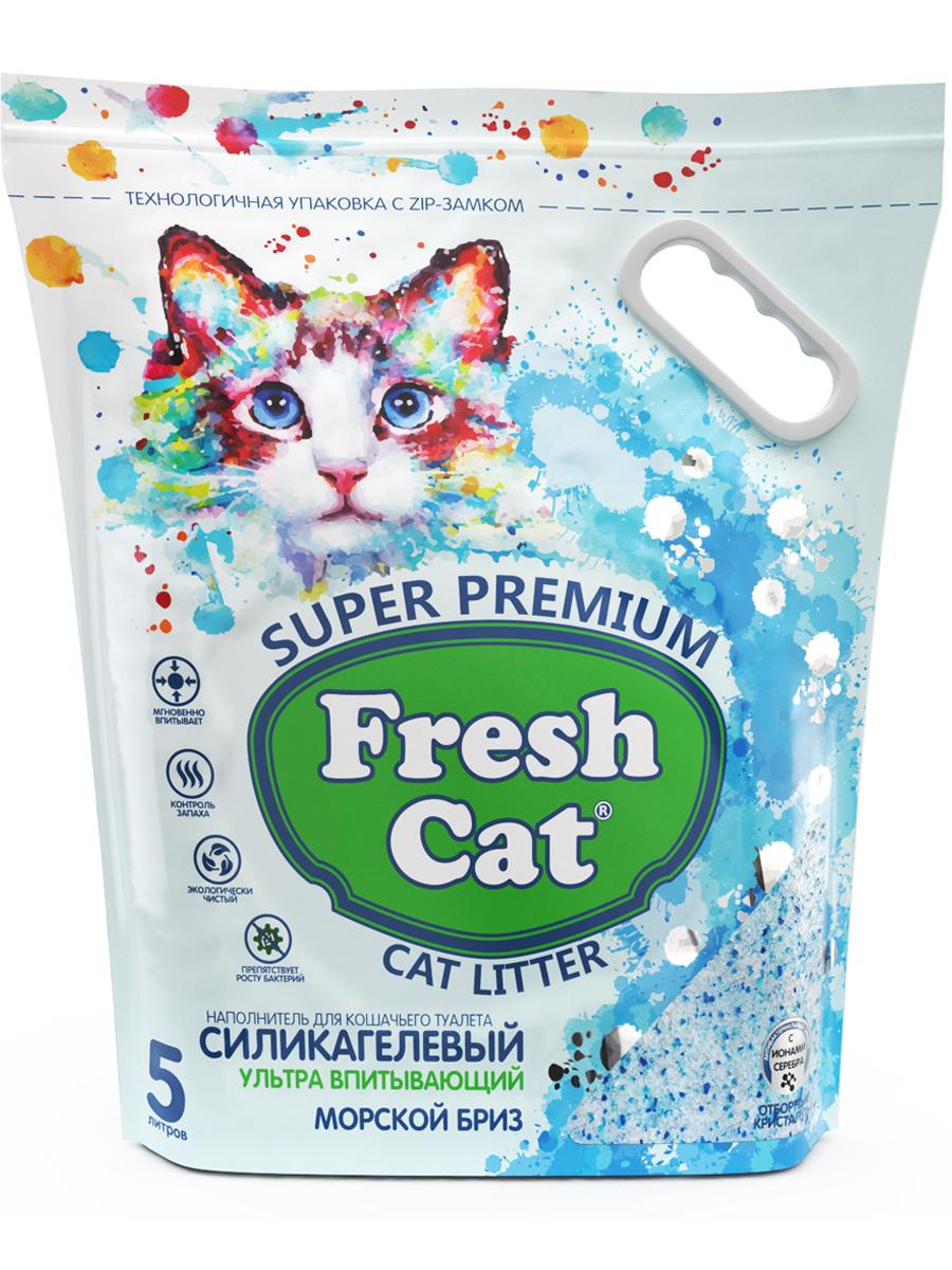 Наполнитель для кошек Fresh Cat Кристаллы чистоты, силикагелевый, Морской бриз, 2кг