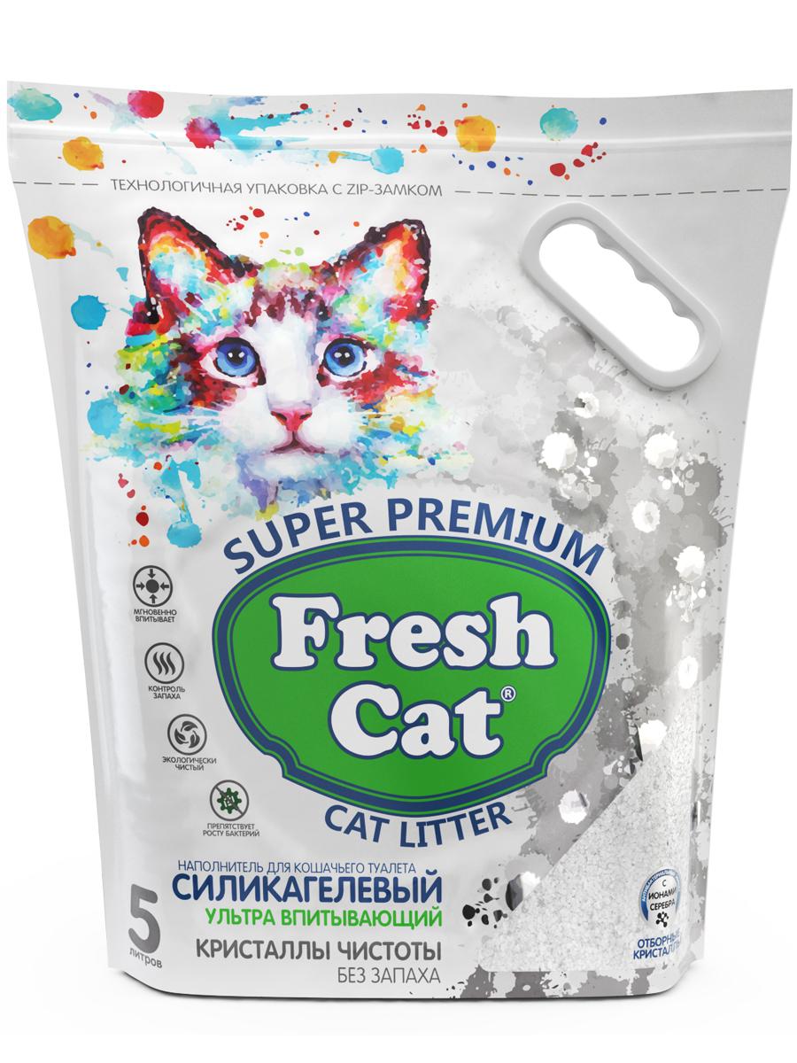 Наполнитель для кошачьего туалета Fresh Cat Кристаллы чистоты, силикагелевый,  2кг