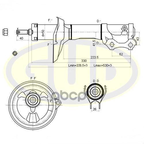 Амортизатор подвески G.U.D GSA333712