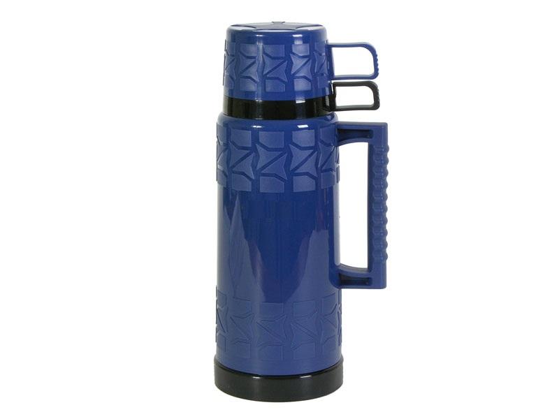 Термос HITT, 1 л, пластиковый, стеклянная колба, 2 кружки