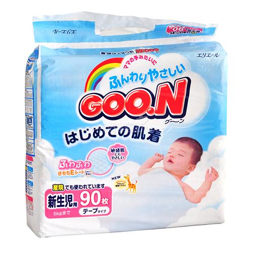 Купить Goon Японские подгузники с витамином Е NB (2-5 кг) 90 шт.,